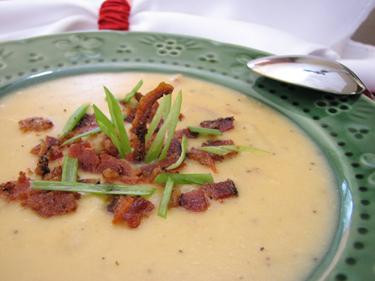 Potato soup garnished with bacon