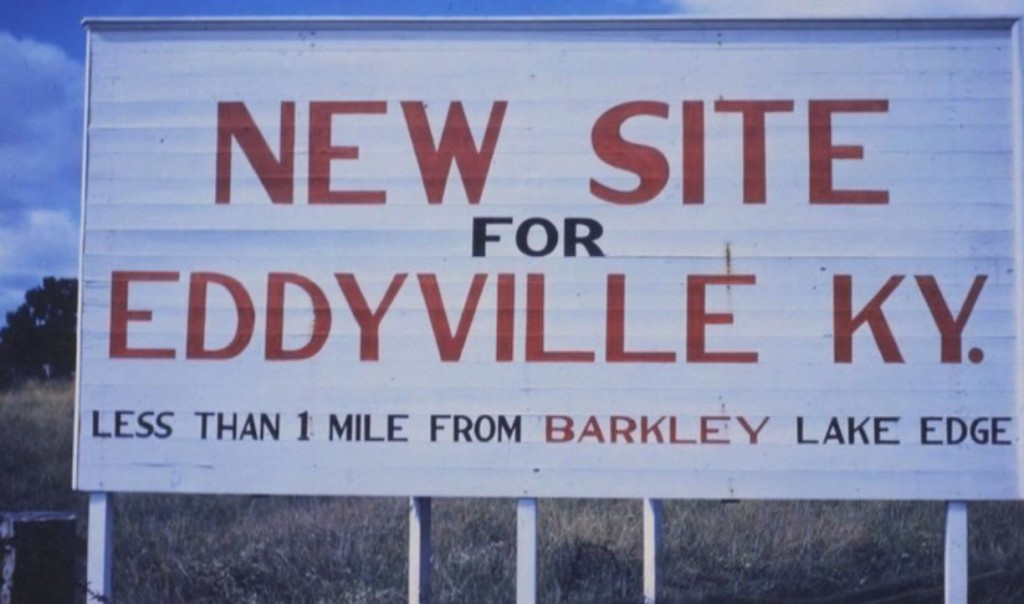 sign announces Eddyville's new location