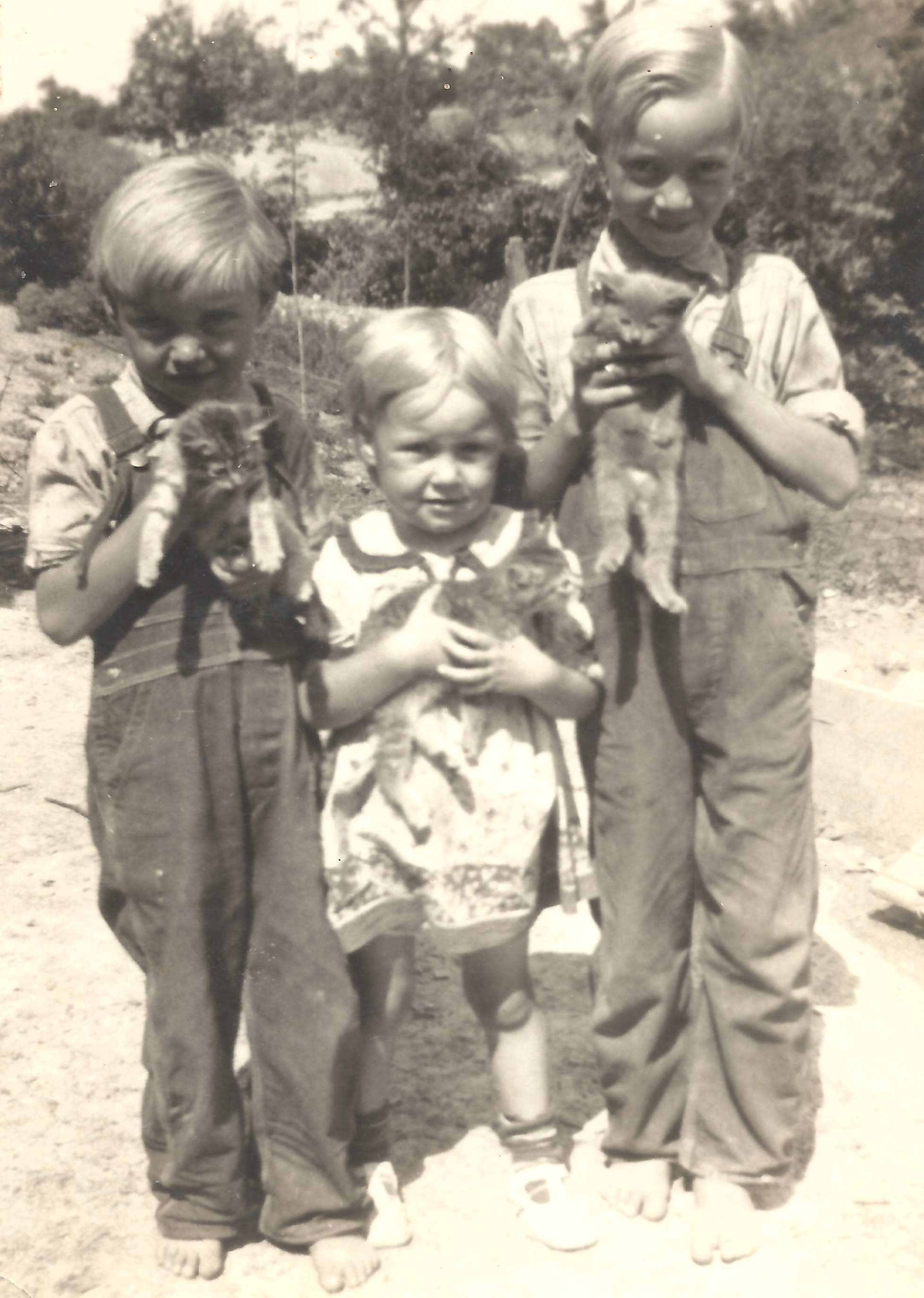 """Rabbit,"" Mary Lou and George with kittens"